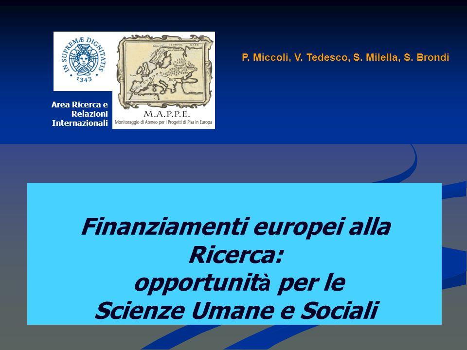Finanziamenti europei alla Ricerca: opportunit à per le Scienze Umane e Sociali Area Ricerca e Relazioni Internazionali P.