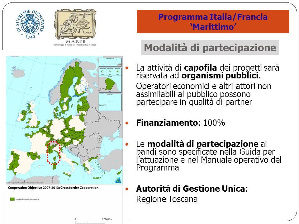 La attività di capofila dei progetti sarà riservata ad organismi pubblici.