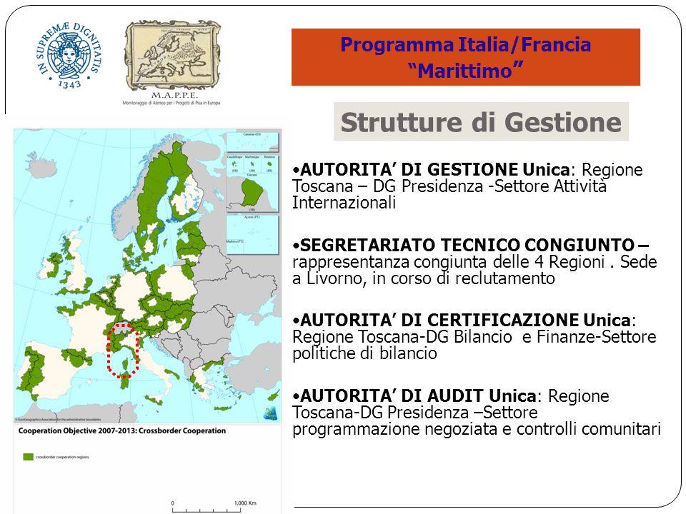 AUTORITA DI GESTIONE Unica: Regione Toscana – DG Presidenza -Settore Attività Internazionali SEGRETARIATO TECNICO CONGIUNTO – rappresentanza congiunta delle 4 Regioni.