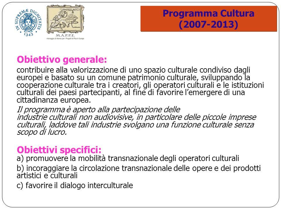 Programma Cultura (2007-2013) Programma Cultura (2007-2013) Obiettivo generale: contribuire alla valorizzazione di uno spazio culturale condiviso dagli europei e basato su un comune patrimonio culturale, sviluppando la cooperazione culturale tra i creatori, gli operatori culturali e le istituzioni culturali dei paesi partecipanti, al fine di favorire lemergere di una cittadinanza europea.