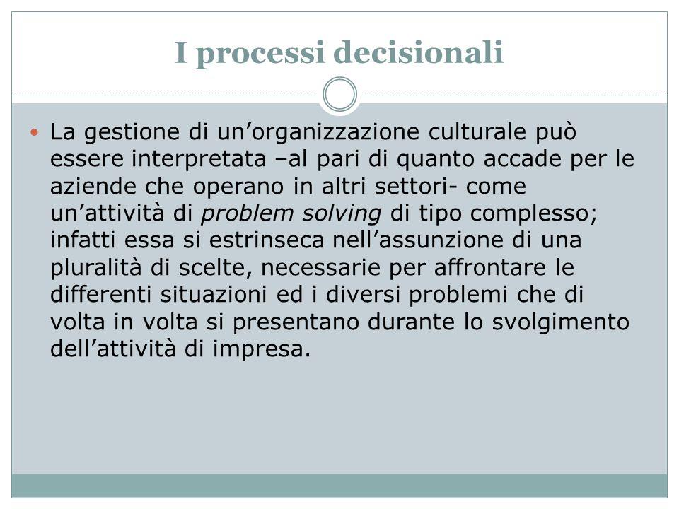 I processi decisionali La gestione di unorganizzazione culturale può essere interpretata –al pari di quanto accade per le aziende che operano in altri