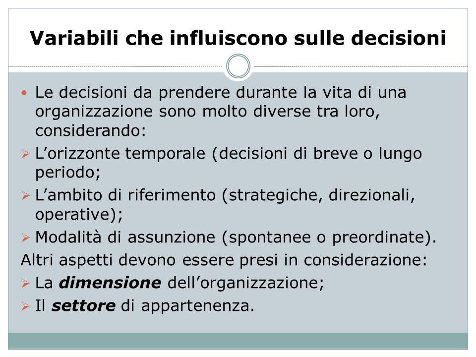 Variabili che influiscono sulle decisioni Le decisioni da prendere durante la vita di una organizzazione sono molto diverse tra loro, considerando: Lo