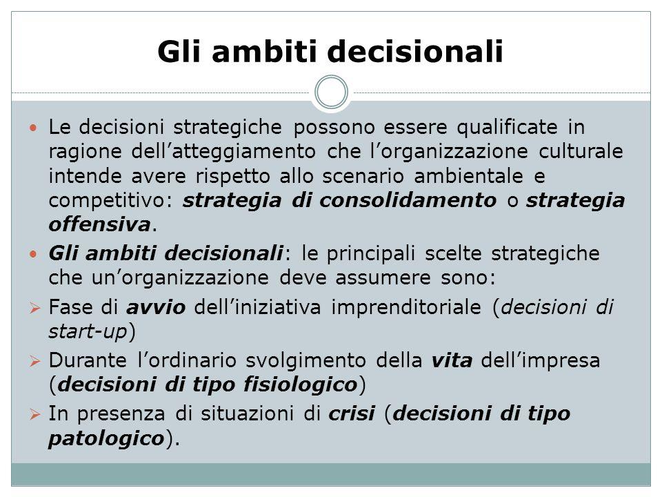 Gli ambiti decisionali Le decisioni strategiche possono essere qualificate in ragione dellatteggiamento che lorganizzazione culturale intende avere ri