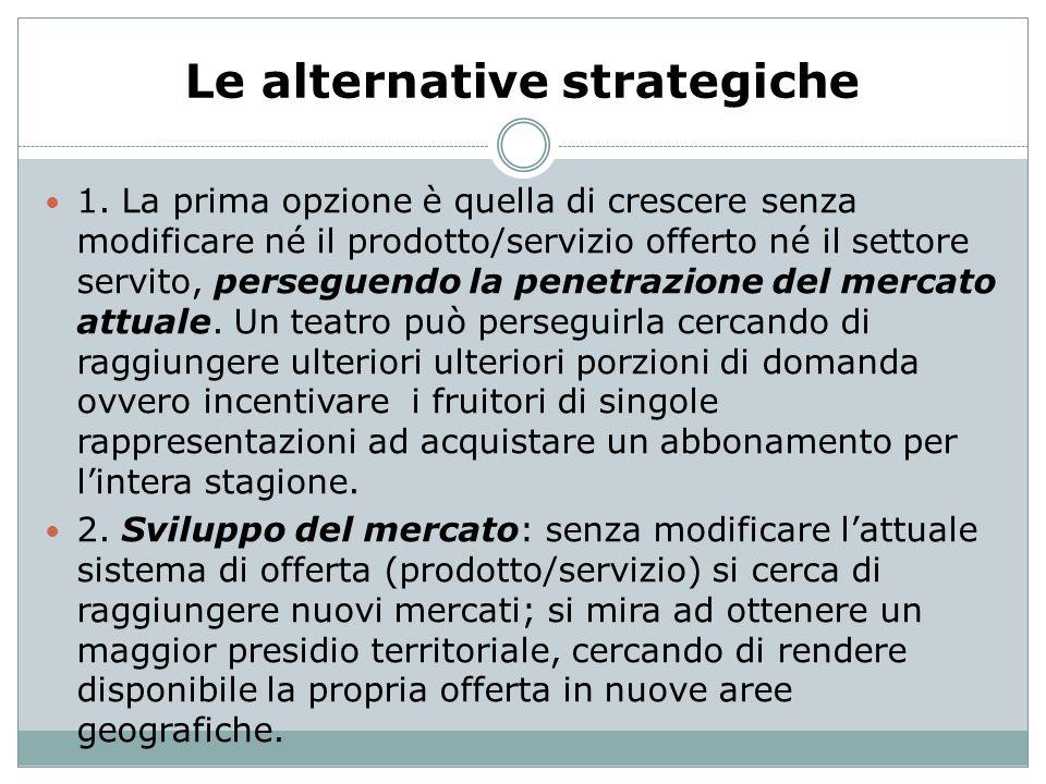 Le alternative strategiche 1. La prima opzione è quella di crescere senza modificare né il prodotto/servizio offerto né il settore servito, perseguend