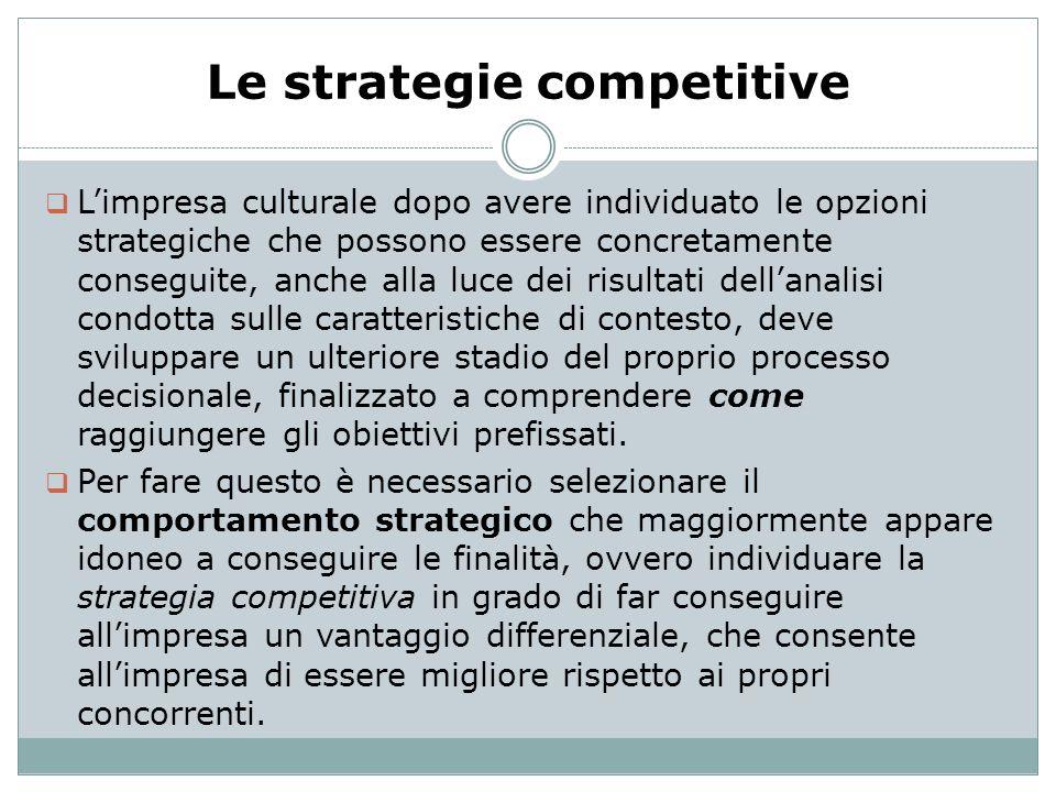 Le strategie competitive Limpresa culturale dopo avere individuato le opzioni strategiche che possono essere concretamente conseguite, anche alla luce