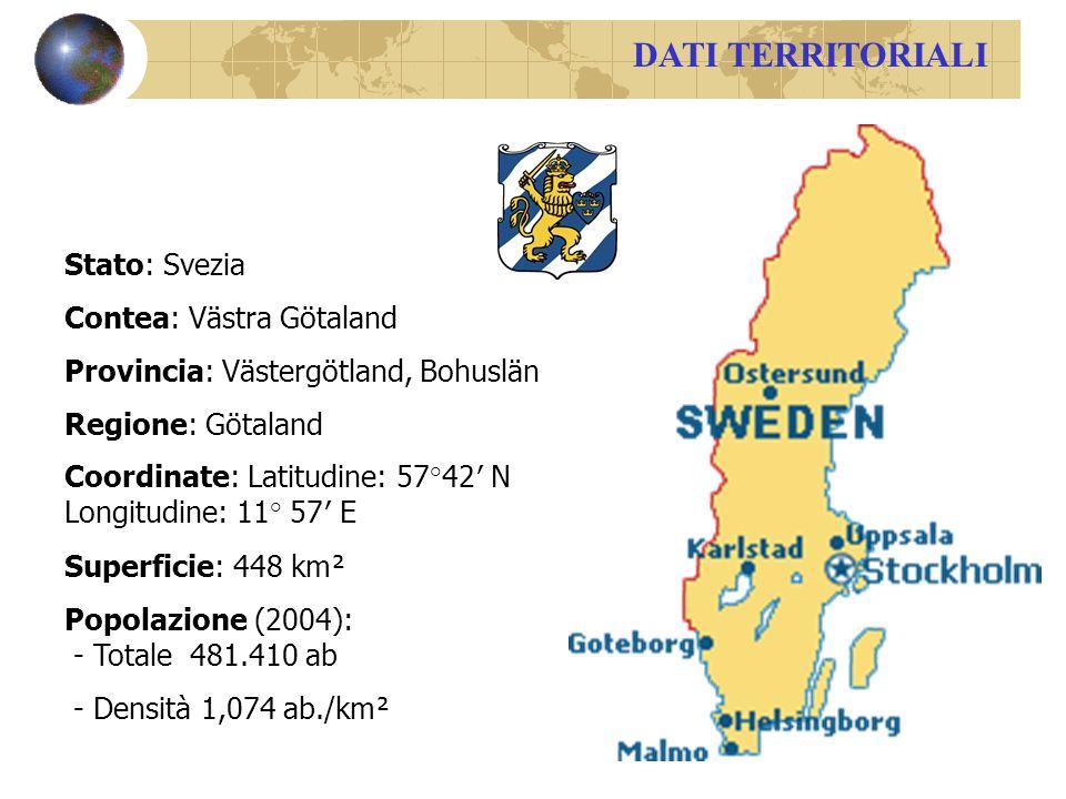DATI TERRITORIALI Stato: Svezia Contea: Västra Götaland Provincia: Västergötland, Bohuslän Regione: Götaland Coordinate: Latitudine: 57°42 N Longitudine: 11° 57 E Superficie: 448 km² Popolazione (2004): - Totale 481.410 ab - Densità 1,074 ab./km²