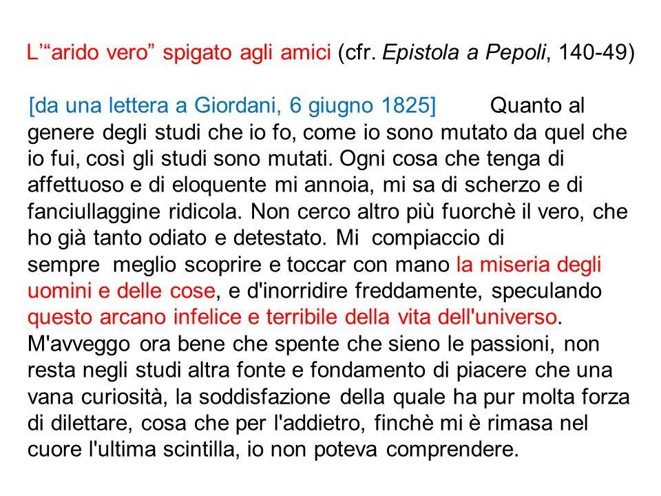 Larido vero spigato agli amici (cfr. Epistola a Pepoli, 140-49) [da una lettera a Giordani, 6 giugno 1825] Quanto al genere degli studi che io fo, com
