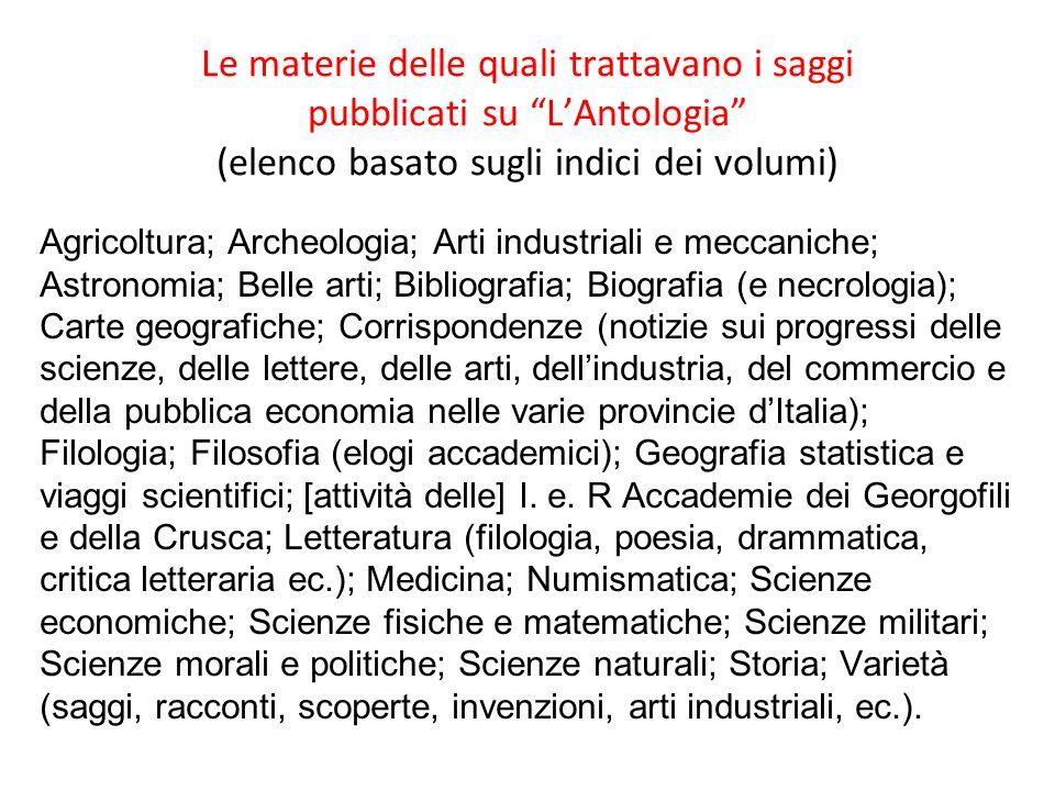 Le materie delle quali trattavano i saggi pubblicati su LAntologia (elenco basato sugli indici dei volumi) Agricoltura; Archeologia; Arti industriali