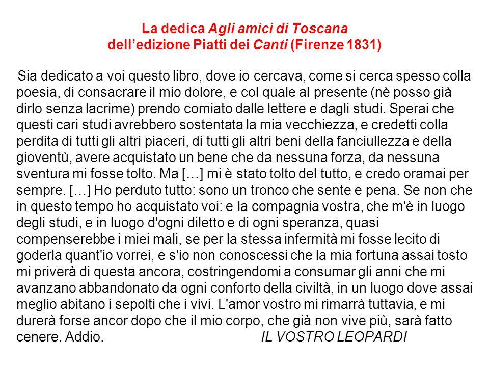 La dedica Agli amici di Toscana delledizione Piatti dei Canti (Firenze 1831) Sia dedicato a voi questo libro, dove io cercava, come si cerca spesso co