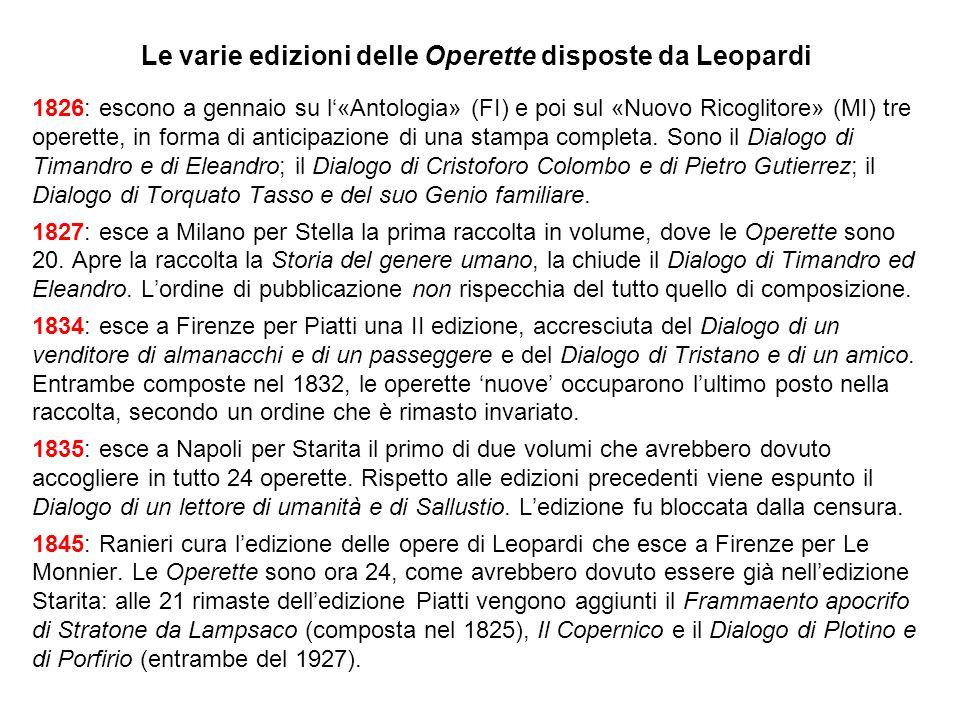 Le varie edizioni delle Operette disposte da Leopardi 1826: escono a gennaio su l«Antologia» (FI) e poi sul «Nuovo Ricoglitore» (MI) tre operette, in forma di anticipazione di una stampa completa.