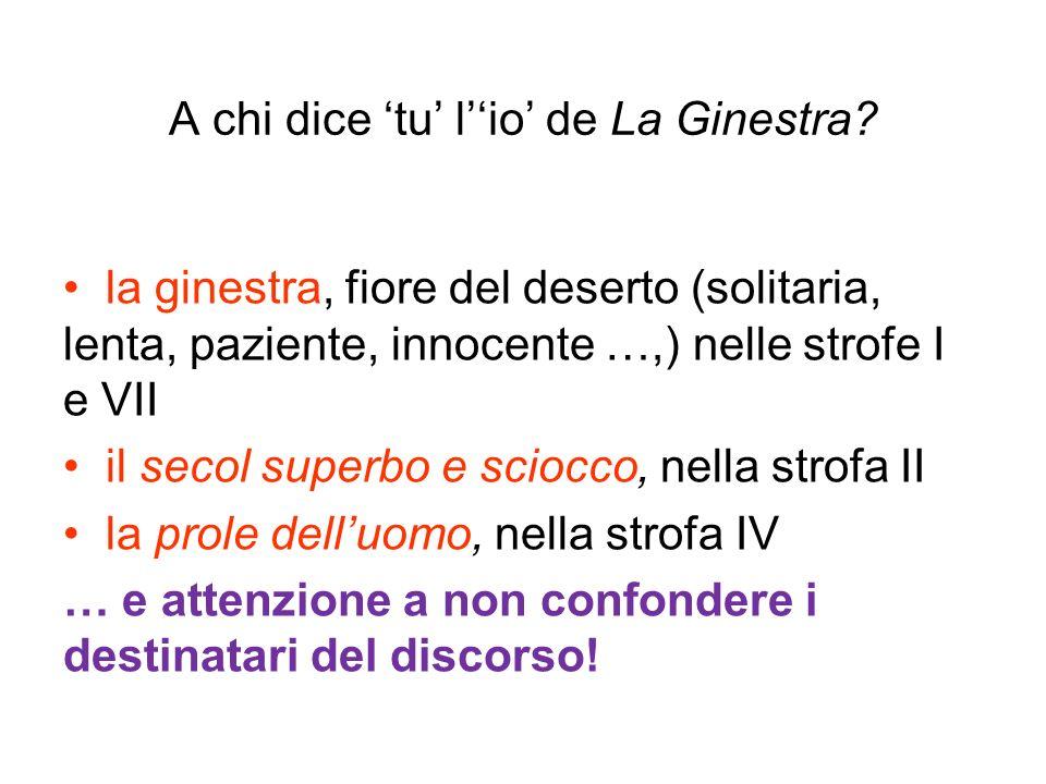 A chi dice tu lio de La Ginestra? la ginestra, fiore del deserto (solitaria, lenta, paziente, innocente …,) nelle strofe I e VII il secol superbo e sc