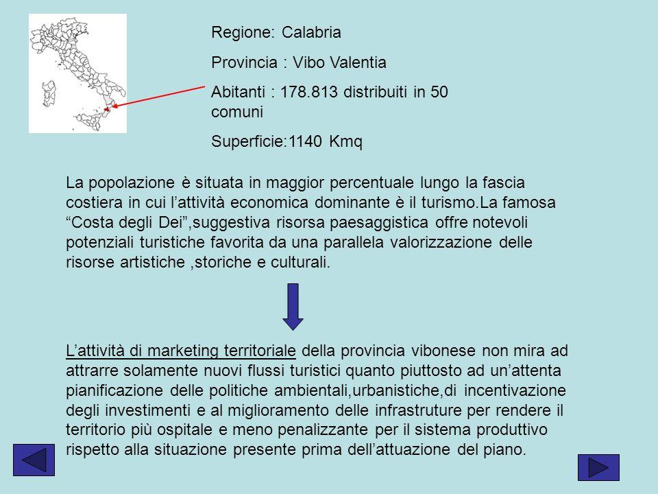 Regione: Calabria Provincia : Vibo Valentia Abitanti : 178.813 distribuiti in 50 comuni Superficie:1140 Kmq La popolazione è situata in maggior percentuale lungo la fascia costiera in cui lattività economica dominante è il turismo.La famosa Costa degli Dei,suggestiva risorsa paesaggistica offre notevoli potenziali turistiche favorita da una parallela valorizzazione delle risorse artistiche,storiche e culturali.