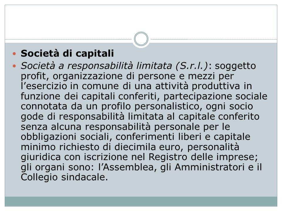 Società di capitali Società a responsabilità limitata (S.r.l.): soggetto profit, organizzazione di persone e mezzi per lesercizio in comune di una att