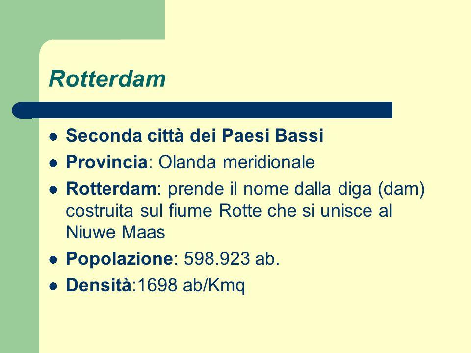 Porto Superficie: 10.000 ha Capacità portuale: 30.000 navi in un anno Sviluppo soprattutto tra gli anni 50 e 60 Centro primario nelle attività di transhipment e nellindustria (settore petrolchimico) Costruzione della ferrovia veloce Betuweroute per trasportare le merci da Rotterdam alla Germania Navigazione fluviale sulla Mosa e sul Reno Costruzione del complesso Europoort (Porta verso lEuropa) Rotterdam Municipality Port Management (RMPM), che svolge un semplice ruolo di brokerdelle proposte commerciali formulate dagli operatori già presenti allinterno dellarea definendo un prezzo unico e limitandosi a coordinare il pacchetto di offerta