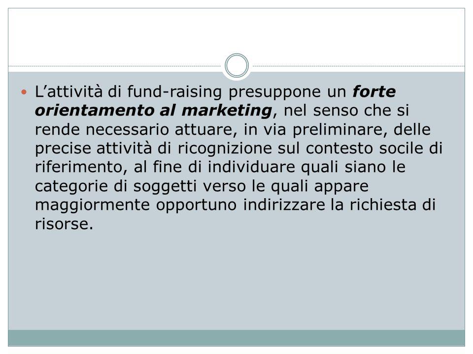 Lattività di fund-raising presuppone un forte orientamento al marketing, nel senso che si rende necessario attuare, in via preliminare, delle precise