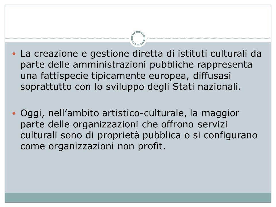 La creazione e gestione diretta di istituti culturali da parte delle amministrazioni pubbliche rappresenta una fattispecie tipicamente europea, diffus