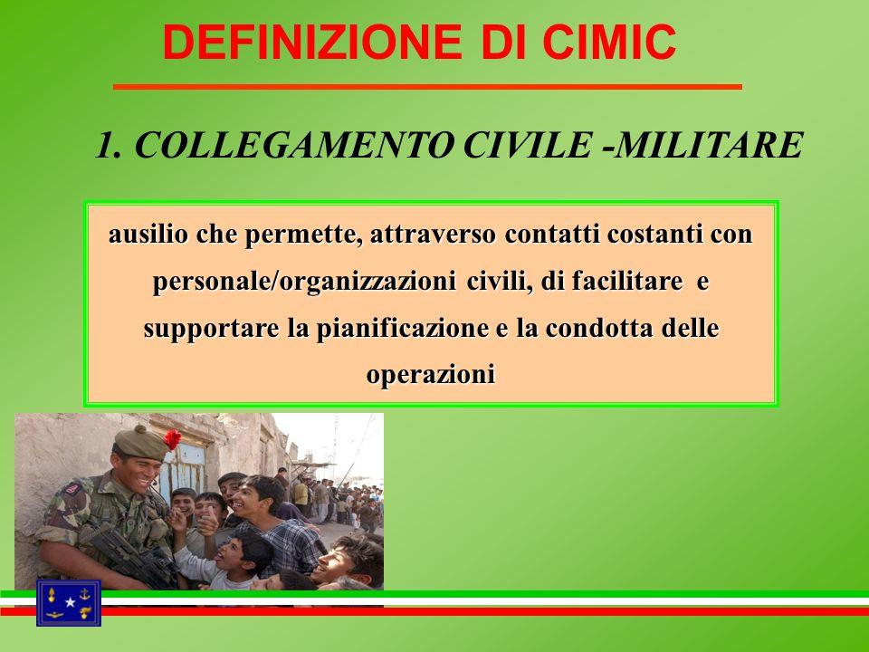utilizzo delle risorse / informazioni provenienti da organizzazioni civili per lottimale condotta delle operazioni 2.