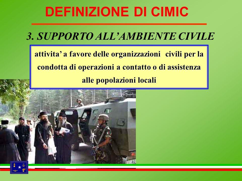 attivita a favore delle organizzazioni civili per la condotta di operazioni a contatto o di assistenza alle popolazioni locali 3. SUPPORTO ALLAMBIENTE