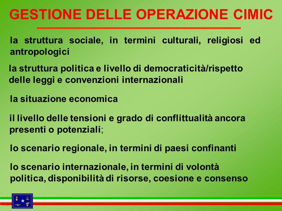 la struttura sociale, in termini culturali, religiosi ed antropologici la struttura politica e livello di democraticità/rispetto delle leggi e convenz