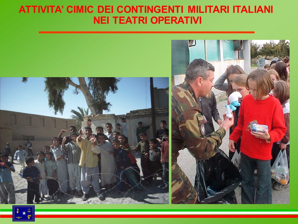 ATTIVITA CIMIC DEI CONTINGENTI MILITARI ITALIANI NEI TEATRI OPERATIVI assistenza sanitaria a favore della popolazione locale interventi di tipo infrastrutturale distribuzione aiuti umanitari AFGHANISTAN