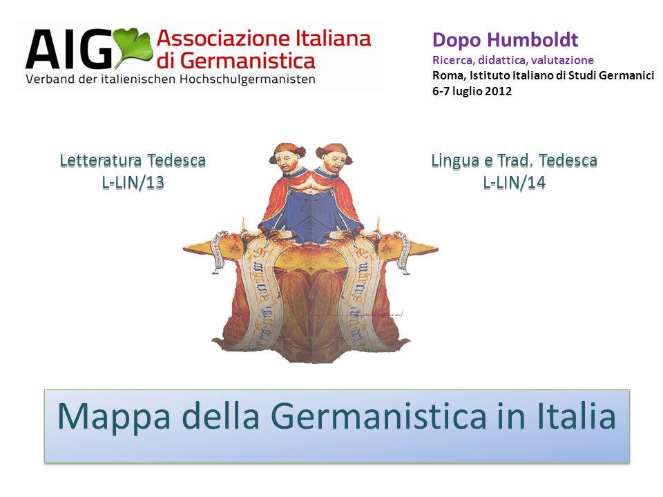 Sedi di dottorato comprendenti i settori (fonti MIUR) TO MI (Statale, Catt., IULM), BG, PV MI (Statale, Catt.), PV TN UD PD, VE, VR L-LIN/13 L-LIN/14 GE BO, FE, MO BO, MO FI, PI, SI PG MC, Urbino RM LaSp, RM ToVr, RM Tre), Cassino, VT RM (LaSp, RM TrVr, RM Tre, LUSPIO), Cassino NA (Fed.II, Or., SOB), SA NA (Fed.II, SOB), SA BA, FG, LE BA, LE CAL PA CA, SS AQ