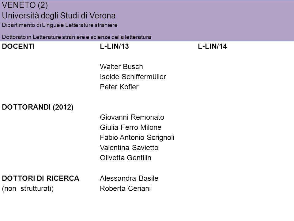 VENETO (2) Università degli Studi di Verona Dipartimento di Lingue e Letterature straniere Dottorato in Letterature straniere e scienze della letterat