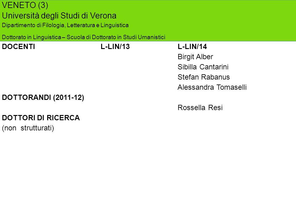 VENETO (3) Università degli Studi di Verona Dipartimento di Filologia, Letteratura e Linguistica Dottorato in Linguistica – Scuola di Dottorato in Stu