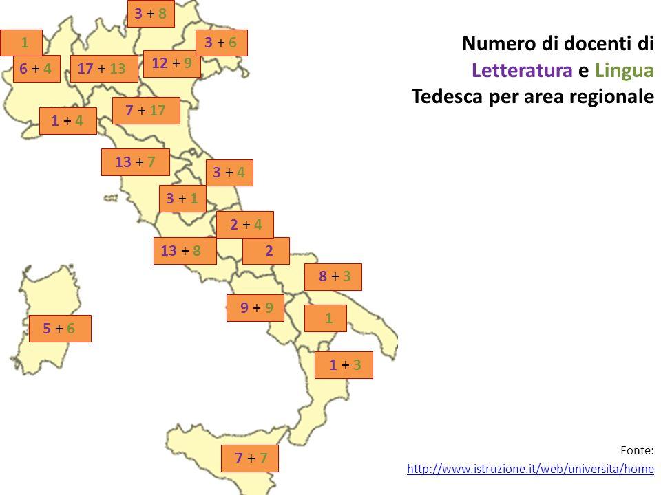 Numero di docenti di Letteratura e Lingua Tedesca per area regionale 6 + 417 + 13 3 + 8 12 + 9 3 + 6 7 + 17 1 + 4 13 + 7 3 + 1 3 + 4 13 + 8 2 8 + 3 9