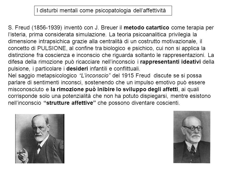 S. Freud (1856-1939) inventò con J. Breuer il metodo catartico come terapia per listeria, prima considerata simulazione. La teoria psicoanalitica priv