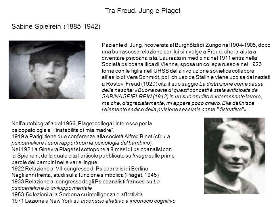 Sabine Spielrein (1885-1942) Tra Freud, Jung e Piaget Paziente di Jung, ricoverata al Burghölzli di Zurigo nel1904-1905, dopo una burrascosa relazione