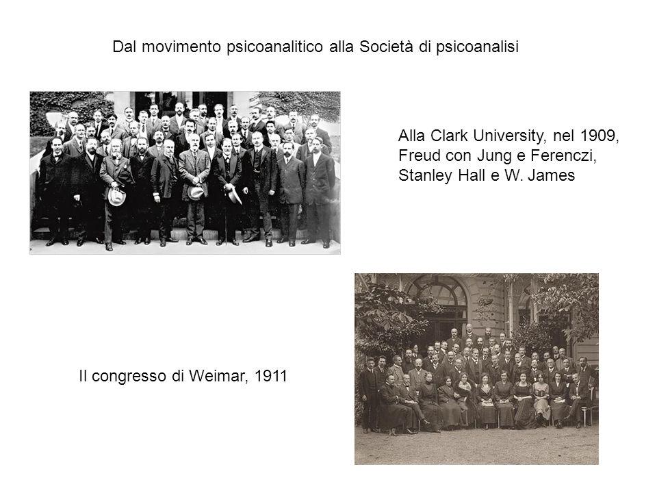 Alla Clark University, nel 1909, Freud con Jung e Ferenczi, Stanley Hall e W. James Il congresso di Weimar, 1911 Dal movimento psicoanalitico alla Soc