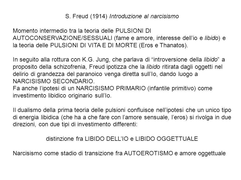 S. Freud (1914) Introduzione al narcisismo Momento intermedio tra la teoria delle PULSIONI DI AUTOCONSERVAZIONE/SESSUALI (fame e amore, interesse dell