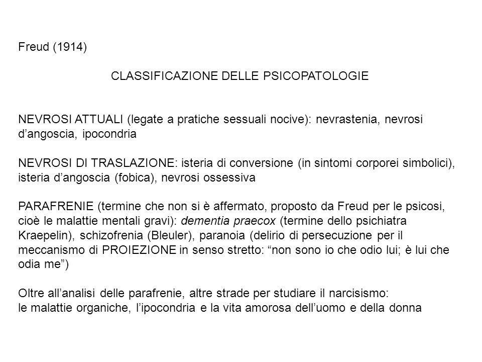 Freud (1914) CLASSIFICAZIONE DELLE PSICOPATOLOGIE NEVROSI ATTUALI (legate a pratiche sessuali nocive): nevrastenia, nevrosi dangoscia, ipocondria NEVR