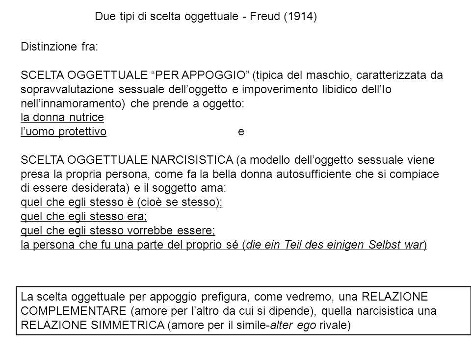 Distinzione fra: SCELTA OGGETTUALE PER APPOGGIO (tipica del maschio, caratterizzata da sopravvalutazione sessuale delloggetto e impoverimento libidico