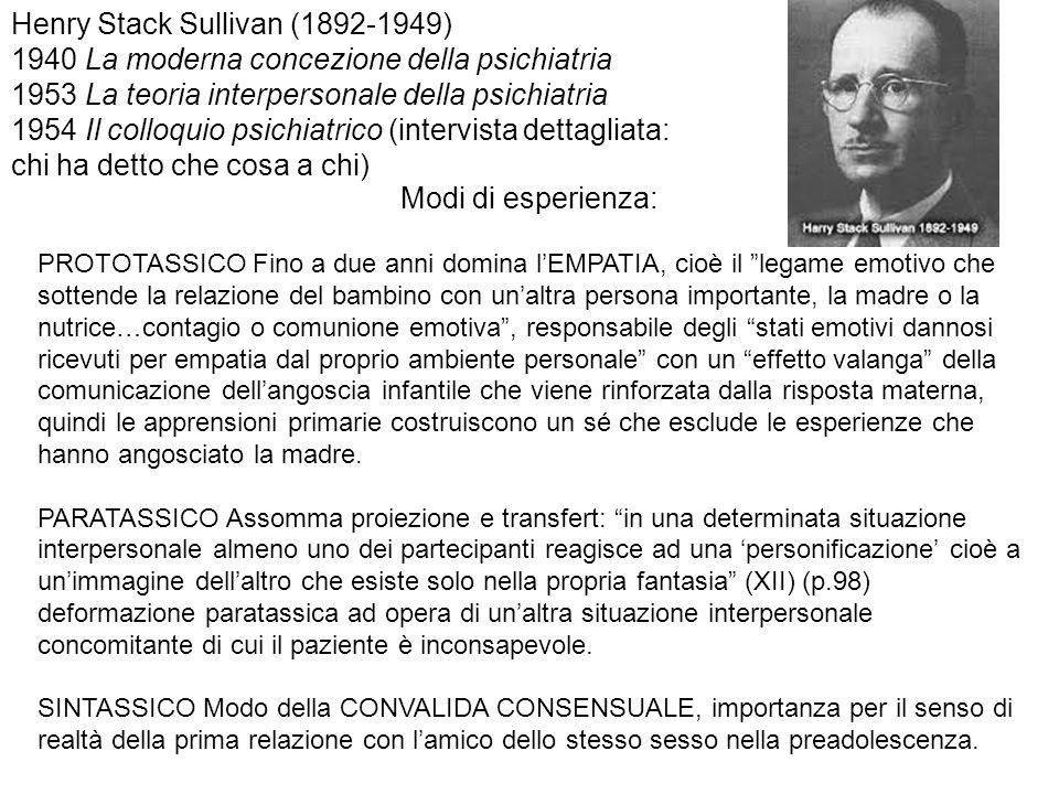 Henry Stack Sullivan (1892-1949) 1940 La moderna concezione della psichiatria 1953 La teoria interpersonale della psichiatria 1954 Il colloquio psichi