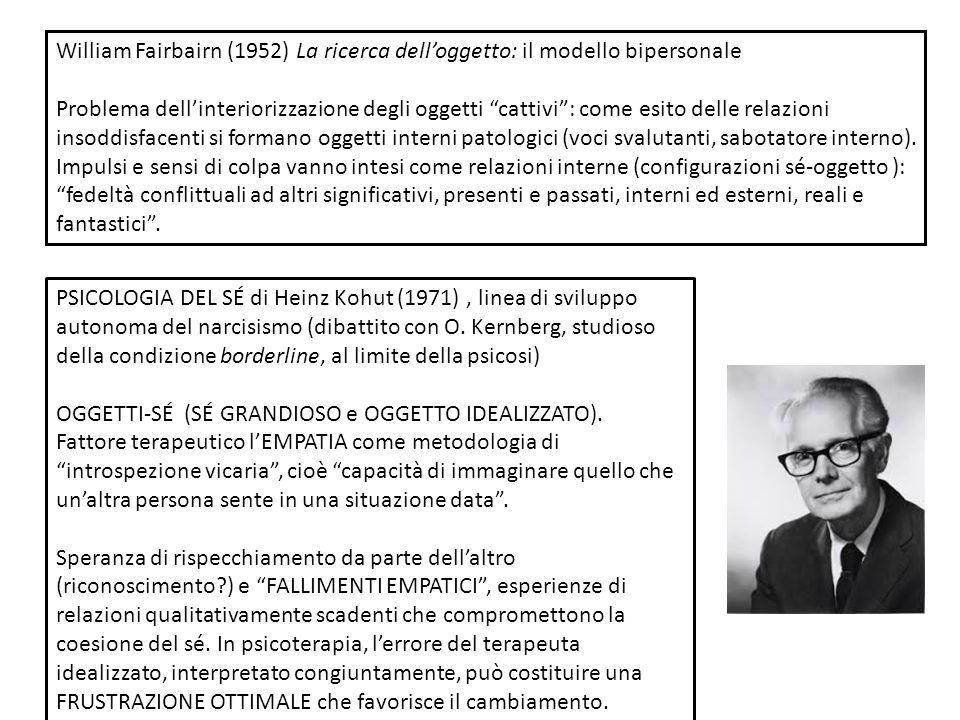 William Fairbairn (1952) La ricerca delloggetto: il modello bipersonale Problema dellinteriorizzazione degli oggetti cattivi: come esito delle relazio