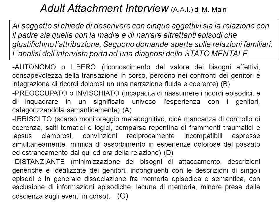 Adult Attachment Interview (A.A.I.) di M. Main - AUTONOMO o LIBERO (riconoscimento del valore dei bisogni affettivi, consapevolezza della transazione