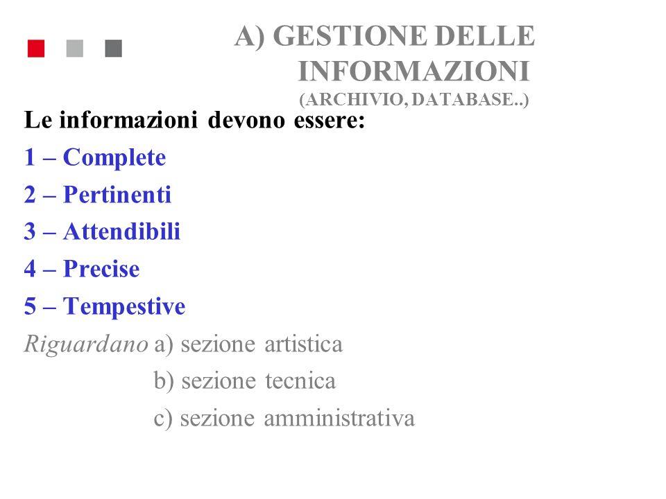A) GESTIONE DELLE INFORMAZIONI (ARCHIVIO, DATABASE..) Le informazioni devono essere: 1 – Complete 2 – Pertinenti 3 – Attendibili 4 – Precise 5 – Tempe