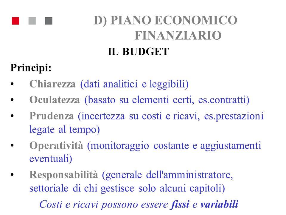 D) PIANO ECONOMICO FINANZIARIO IL BUDGET Princìpi: Chiarezza (dati analitici e leggibili) Oculatezza (basato su elementi certi, es.contratti) Prudenza