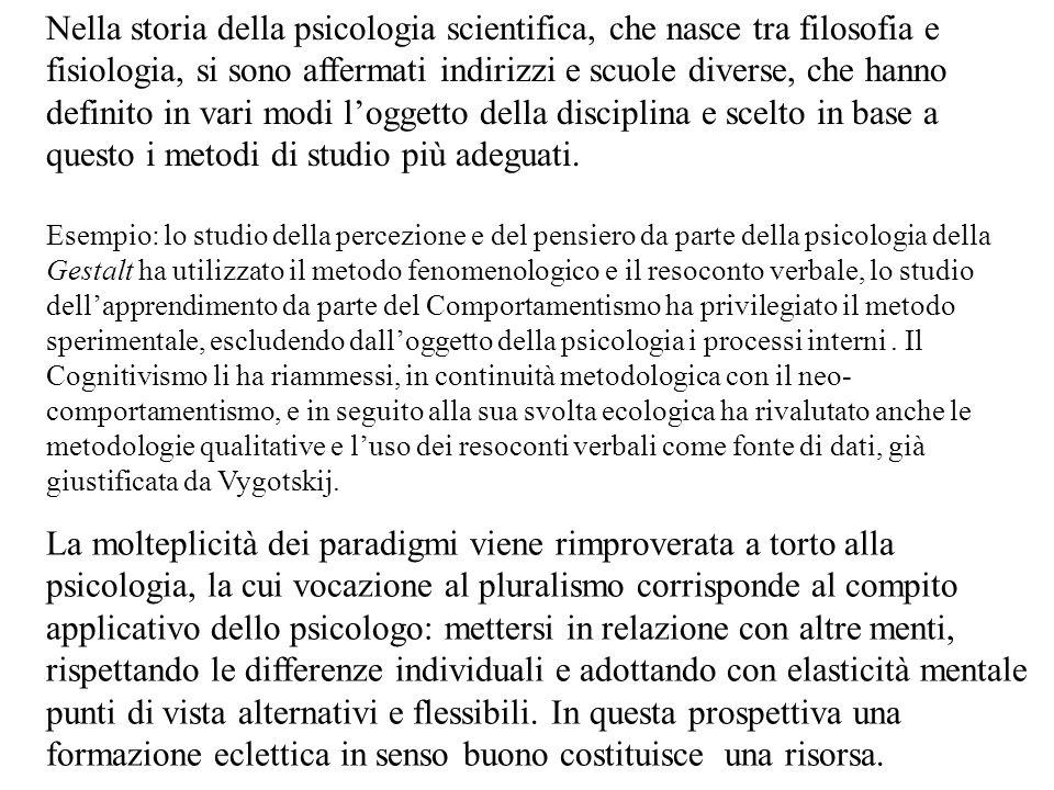 Nella storia della psicologia scientifica, che nasce tra filosofia e fisiologia, si sono affermati indirizzi e scuole diverse, che hanno definito in v