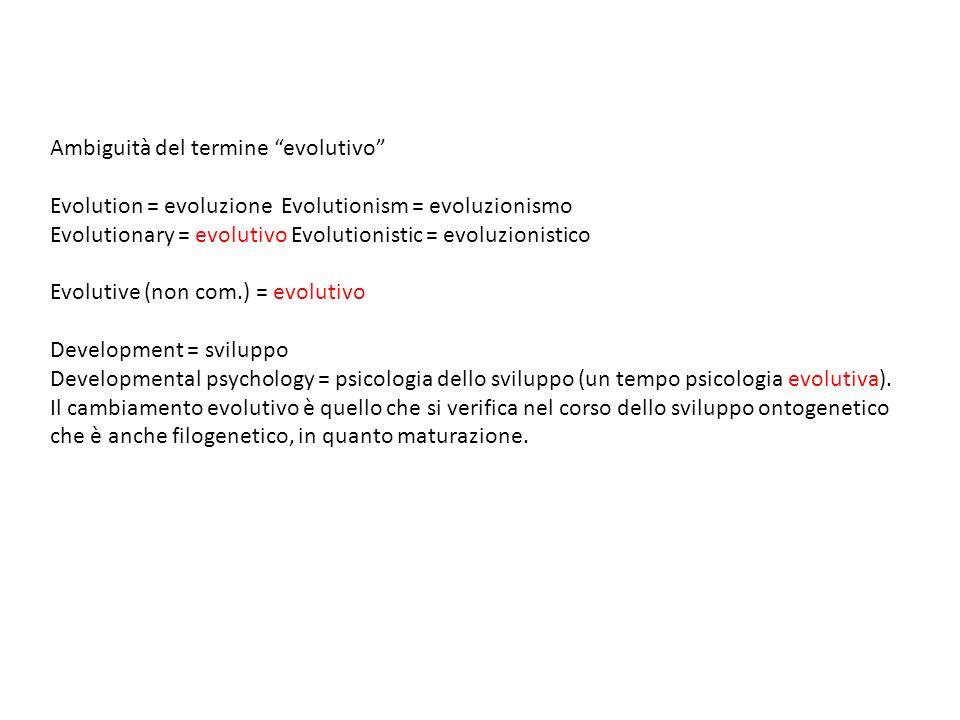Ambiguità del termine evolutivo Evolution = evoluzione Evolutionism = evoluzionismo Evolutionary = evolutivo Evolutionistic = evoluzionistico Evolutiv