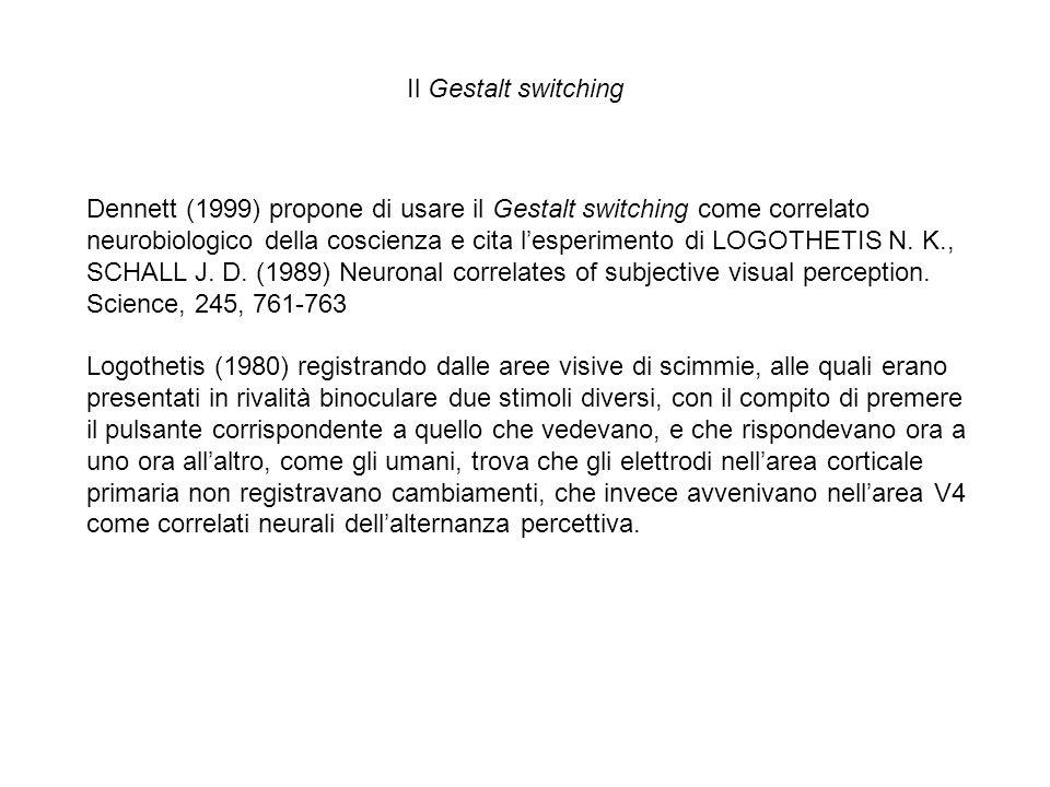 Dennett (1999) propone di usare il Gestalt switching come correlato neurobiologico della coscienza e cita lesperimento di LOGOTHETIS N. K., SCHALL J.