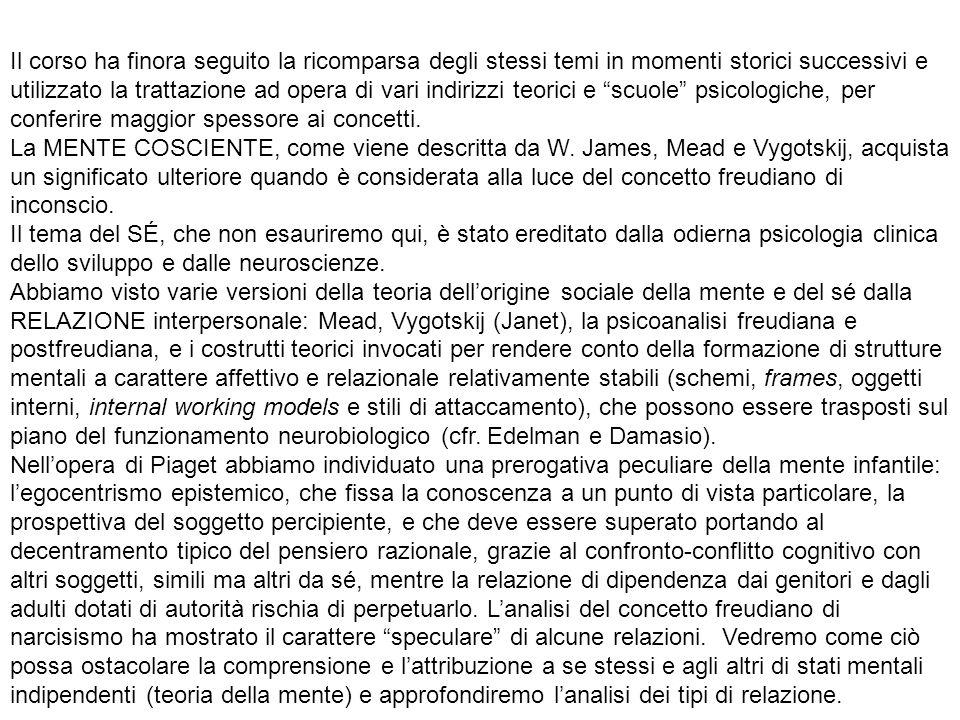 IPOTESI EVOLUZIONISTICA della maturazione di un modulo innato di teoria della mente (Baron-Cohen, 1995, Mindblindness) TEORIA DELLA TEORIA (Morton, 1980), pratica mentalistica di attribuzione di stati mentali per inferenza, in base alla psicologia del senso comune o folk psychology, ipotesi costruttivista (Gopnick, Perner, Wellman) TEORIA DELLA SIMULAZIONE, gli stati mentali sono prima attribuiti a se stessi e poi proiettati sugli altri mettendosi nei loro panni, con monitoraggio introspettivo e asimmetria fra prima e terza persona (Stich e Nichols, 2003).