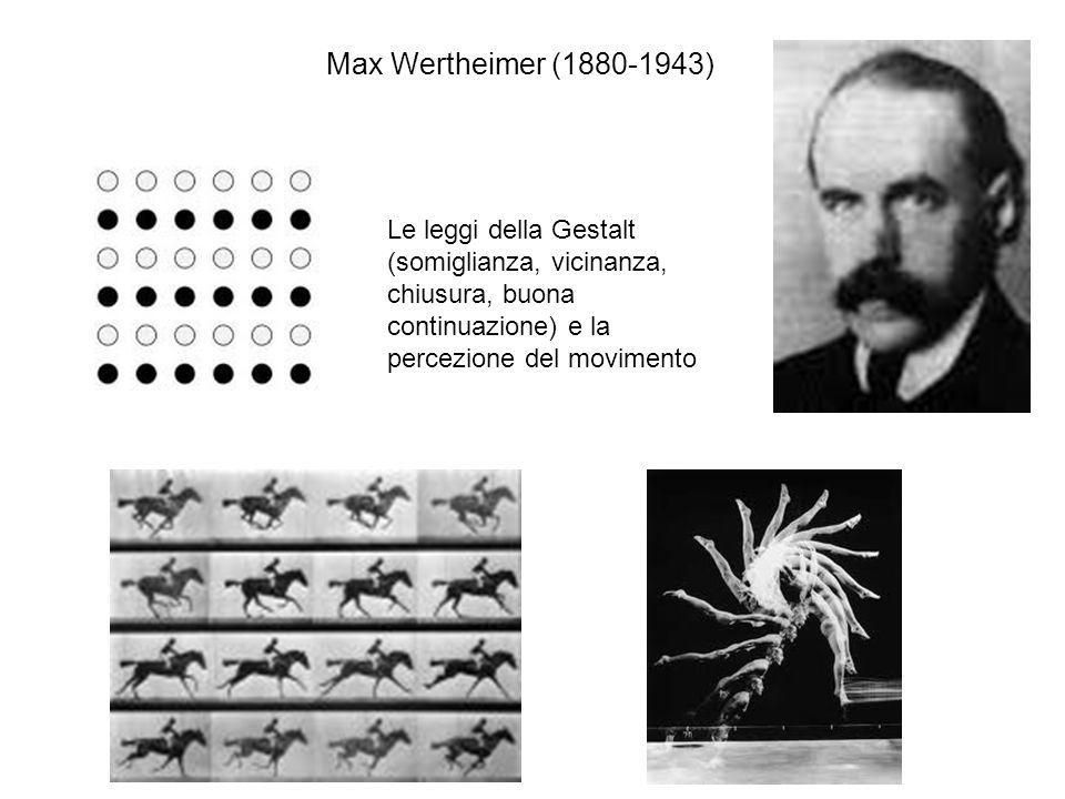 Le qualità formali Nel 1890 Christian von Ehrenfels pubblica larticolo Über gestaltqualitäten La forma sonora è qualcosa di diverso dalla somma delle note che la compongono: si possono cambiare tutti gli elementi, trasporre i toni in una nuova chiave (lasciando invariati gli intervalli musicali), ma linsieme rimane lo stesso e la melodia è riconoscibile come totalità data nellesperienza con immediatezza Max Wertheimer (1912) e il fenomeno phi Presentando in successione due stimoli luminosi identici, per esempio i segmenti a e b, collocati nelle posizioni dello spazio A e B, al variare dellintervallo temporale si producono diversi effetti di movimento apparente: con intervallo ottimale, limpressione visiva è di un unico stimolo che si muove da A a B (attraversando le posizioni intermedie, dove non è proiettato alcuno stimolo) A B a b a