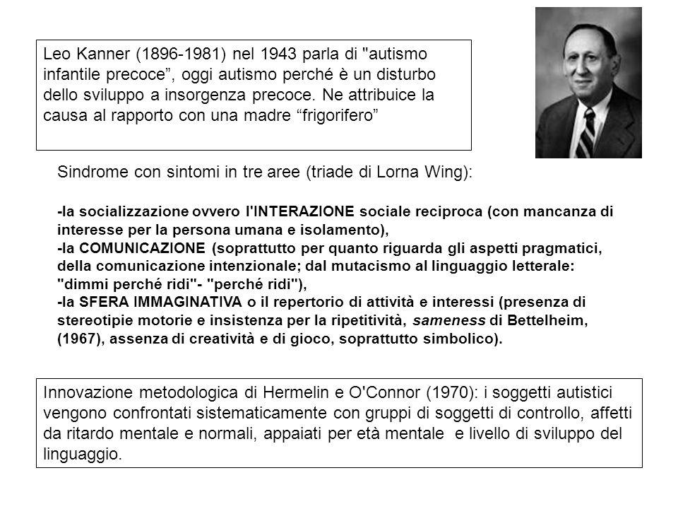 Sindrome con sintomi in tre aree (triade di Lorna Wing): -la socializzazione ovvero l'INTERAZIONE sociale reciproca (con mancanza di interesse per la