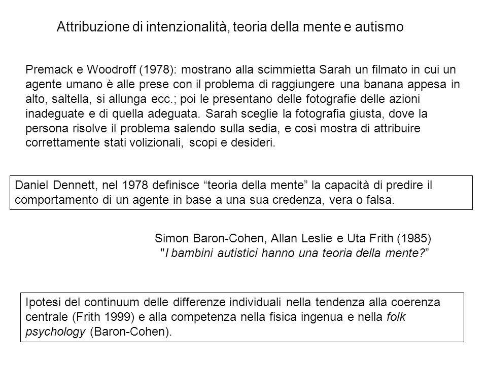 Premack e Woodroff (1978): mostrano alla scimmietta Sarah un filmato in cui un agente umano è alle prese con il problema di raggiungere una banana app