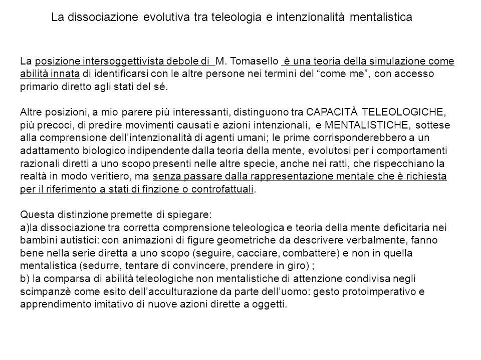 La posizione intersoggettivista debole di M. Tomasello è una teoria della simulazione come abilità innata di identificarsi con le altre persone nei te
