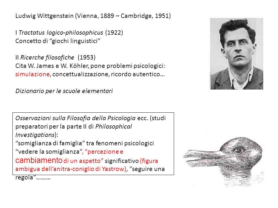 Ludwig Wittgenstein (Vienna, 1889 – Cambridge, 1951) I Tractatus logico-philosophicus (1922) Concetto di giochi linguistici II Ricerche filosofiche (1
