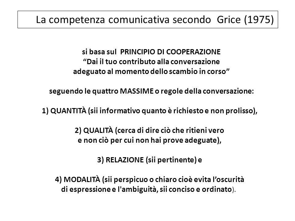 si basa sul PRINCIPIO DI COOPERAZIONE Dai il tuo contributo alla conversazione adeguato al momento dello scambio in corso seguendo le quattro MASSIME