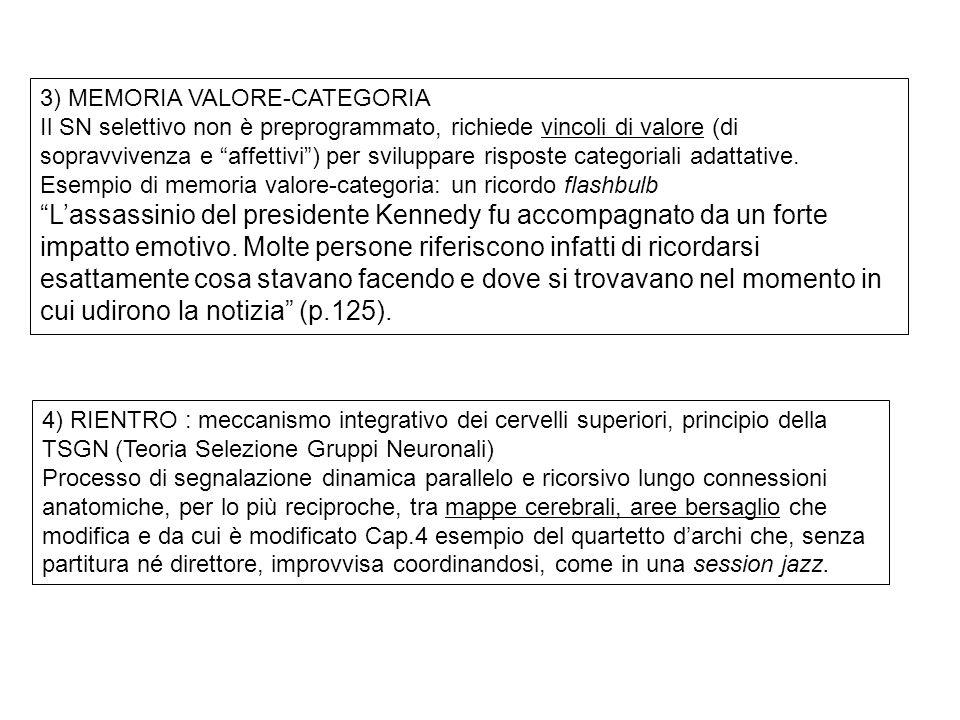 3) MEMORIA VALORE-CATEGORIA Il SN selettivo non è preprogrammato, richiede vincoli di valore (di sopravvivenza e affettivi) per sviluppare risposte ca